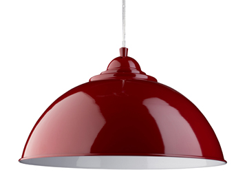 Searchlight Fusion 1 Light Pendant Ceiling Light, Red Dome Shade With White Inner - 8140RE