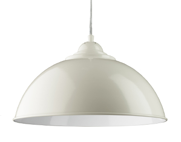Searchlight Fusion 1 Light Pendant Ceiling Light, White Dome Shade With White Inner - 8140WH