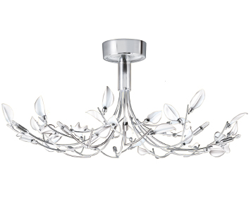 Searchlight Wisteria 10 Light Ceiling Light, Polished Chrome Finish With White Leaves - 81510-10WH