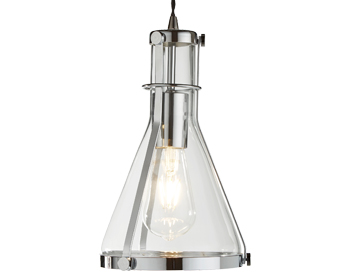 Searchlight Roxbury 1 Light Pendant Ceiling Light, Chrome Finish With Metal Framed Conical Glass Shade - 8201CC