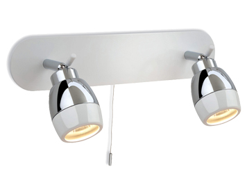 Firstlight Marine Switched 2 Light Wall Bar Light, White Finish With Chrome - 8202WH