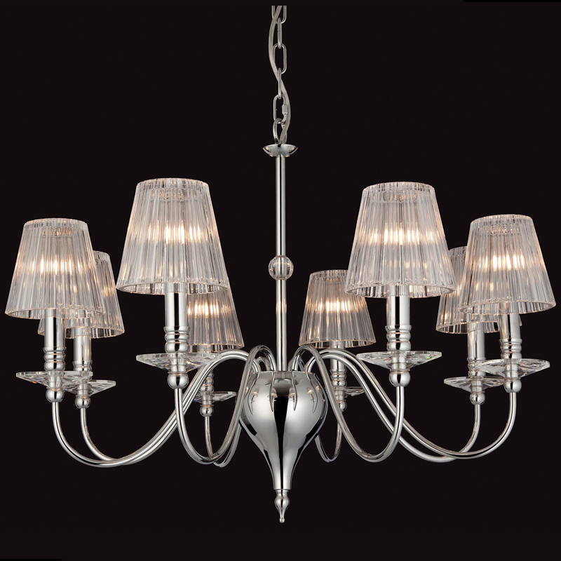 Firstlight Grace 8 Light Ceiling Light, Chrome With Moulded Clear Glass - 8212CH