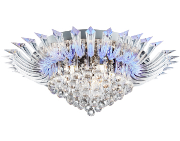 Searchlight Crystoria 5 Light + Blue LED Flush Ceiling Light (With Remote), Chrome Finish With Clear Glass Drops - 8215-5CC
