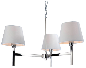 Firstlight Transition 3 Light Ceiling Light, Polished Stainless Steel With Cream Shade - 8218PST