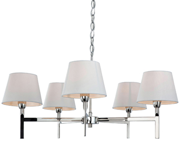 Firstlight Transition 5 Light Ceiling Light, Polished Stainless Steel With Cream Shade - 8219PST