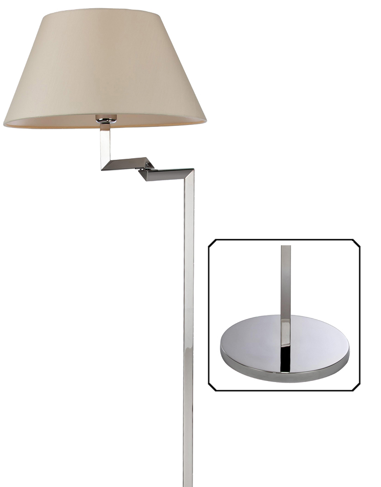 polished stainless steel swing arm floor lamp cream shade 8224pst. Black Bedroom Furniture Sets. Home Design Ideas