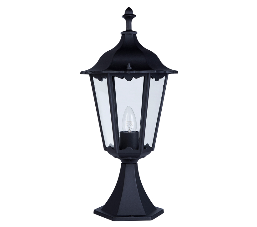 Alex Pedestal Light: Searchlight Alex 1 Light Outdoor Pedestal Light, Black