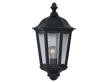 Searchlight Alex 1 Light Outdoor Flush Lantern/Wall Light, Black Aluminium Finish - 82505BK
