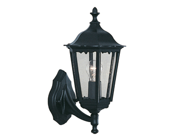 Searchlight Alex 1 Light Outdoor Lantern/Wall Light, Black Aluminium Finish - 82530BK