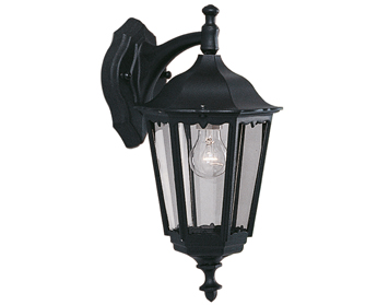Searchlight Alex 1 Light Outdoor Lantern/Wall Light, Black Aluminium Finish - 82531BK