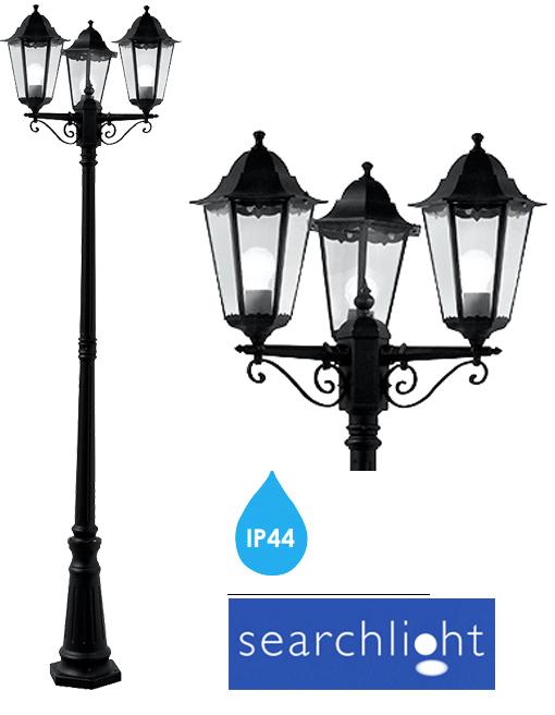 SEARCHLIGHT ALEX OUTDOOR 3 LIGHT LAMP POST IP44, BLACK ALUMINIUM ...