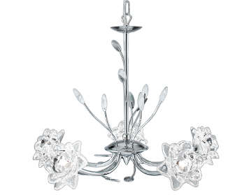 Searchlight Bellis 5 Light Ceiling Light, Polished Chrome Finish With Clear Flower & Leaf Decoration - 8285-5CC