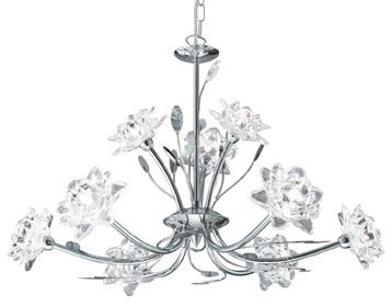 Searchlight Bellis 9 Light Ceiling Light, Polished Chrome With Clear Flower & Leaf Decoration - 8289-9CC