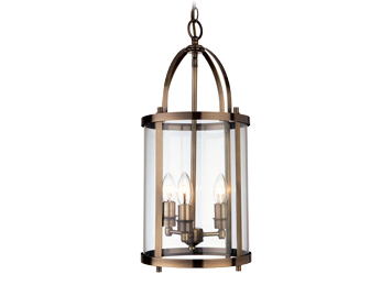 Firstlight Imperial 3 Light Lantern, Antique Brass Finish With Clear Glass - 8301AB