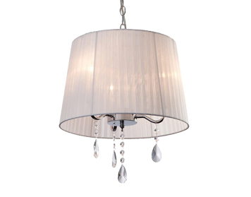 Firstlight Organza 3 Light Pendant Light, White Finish With White Shade & Crystals - 8308WH