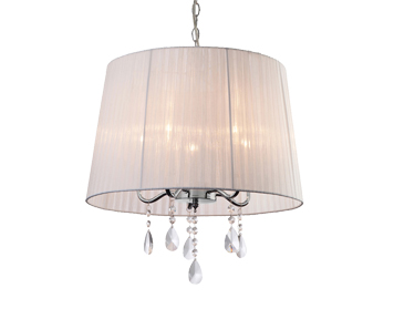 Firstlight Organza 5 Light Pendant Light, White Finish With White Shade & Crystals- 8309WH