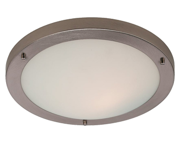 Firstlight Rondo LED Flush Fitting Ceiling Light, Brushed Steel Finish With Opal Glass - 8611BS