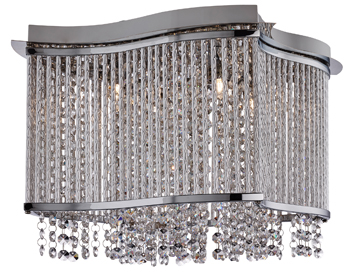 Searchlight Elise 3 Light Square Flush Ceiling Light, Chrome Finish With Clear Crystal Button Drops - 8323-3CC