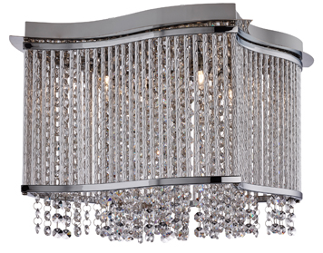 Searchlight Elise 4 Light Square Flush Ceiling Light, Chrome Finish With Clear Crystal Button Drops - 8324-4CC