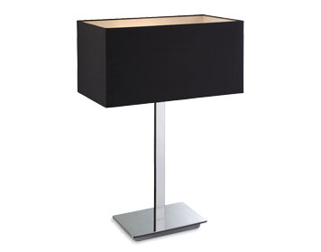 Firstlight Prince Table Lamp, Polished Stainless Steel Finish With Black Shade - 8329BK
