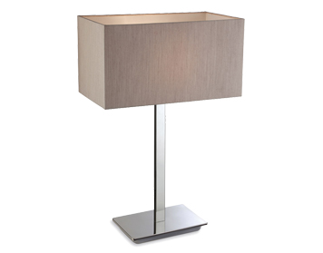 Firstlight Prince Table Lamp, Polished Stainless Steel Finish With Oyster Shade - 8329OY