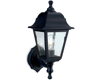 Firstlight Oslo 4 Panel Resin Outdoor Wall Lantern, Black Resin Finish - 8346BK