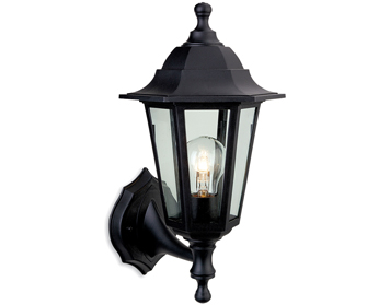 Firstlight Malmo 6 Panel Resin Outdoor Wall Lantern, Black Resin - 8349BK