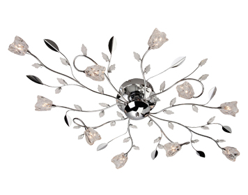 Firstlight Cindy 10 Light Flush Ceiling Light, Chrome Finish With Clear Glass - 8362CH