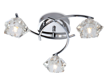 Firstlight Clara 3 Light Flush Ceiling Light, Chrome Finish With Clear Glass - 8364CH