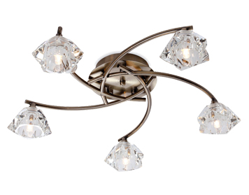 Firstlight Clara 5 Light Flush Ceiling Light, Antique Brass Finish With Clear Glass - 8365AB