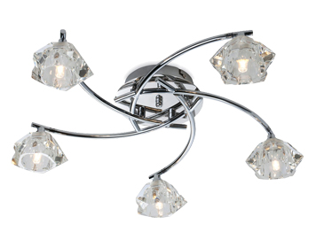 Firstlight Clara 5 Light Flush Ceiling Light, Chrome Finish With Clear Glass - 8365CH