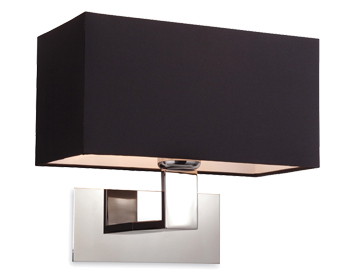 Firstlight Prince Single Wall Light, Polished Stainless Steel Finish With Black Shade - 8370BK