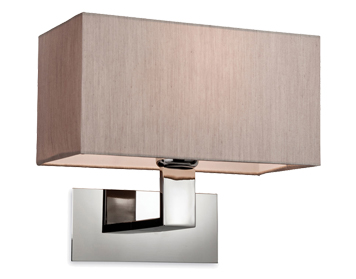 Firstlight Prince Single Wall Light, Polished Stainless Steel Finish With Oyster Shade - 8370OY