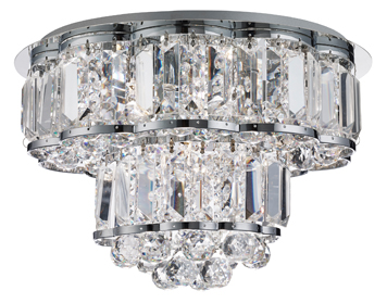 Searchlight Hayley 4 Light Flush Ceiling Light, Chrome Finish With Crystal Drops - 8374-4CC