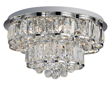 Searchlight Hayley 6 Light Flush Ceiling Light, Chrome Finish With Crystal Drops - 8376-6CC