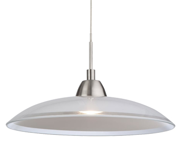 Firstlight Nassau LED Pendant, Brushed Steel Finish With Glass - 8376BS