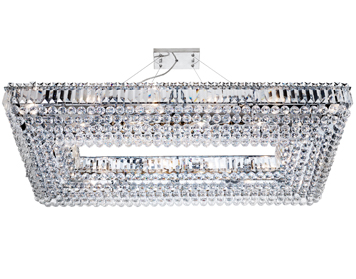 Searchlight Vesuvius 26 Light Large Rectangular Ceiling Light, Chrome Finish With Crystal Coffin Drops - 8382CC