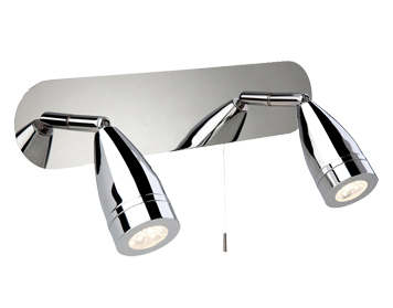 Firstlight Storm Pull Switch 2 Light LED Wall Light Bar, Chrome Finish - 8382CH