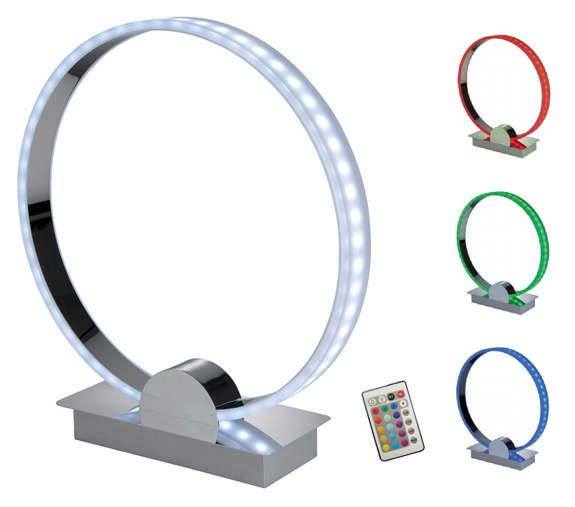 Firstlight Remote Controlled Ring Led Table Lamp Chrome Finish With