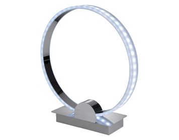Firstlight Remote Controlled Ring LED Table Lamp, Chrome Finish With RGB Lights - 8385CH