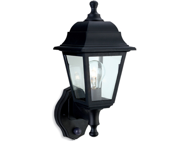 Firstlight Oslo 4 Panel Resin Outdoor Upright PIR Wall Lantern, Black Resin Finish - 8400BK