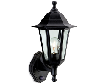 Firstlight Malmo 6 Panel Resin Outdoor Upright PIR Wall Lantern, Black Resin - 8401BK