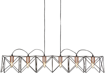 Searchlight Athena 6 Light Black Frame Pendant With Copper Detail - 8416-6BK
