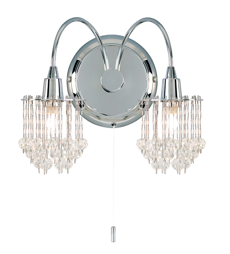 Endon Crystal Wall Lights : Endon Milieu Crystal Switched Twin Wall Light, Polished Chrome - 850-2CH from Easy Lighting