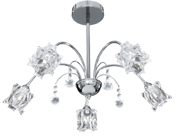 Searchlight Fabia 5 Light Crystal Glass Ceiling Light, Polished Chrome Finish - 8525-5CC