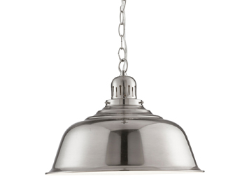 Searchlight Industrial 1 Light Pendant Ceiling Light, Satin Silver Finish With Domed Shade - 8551SS