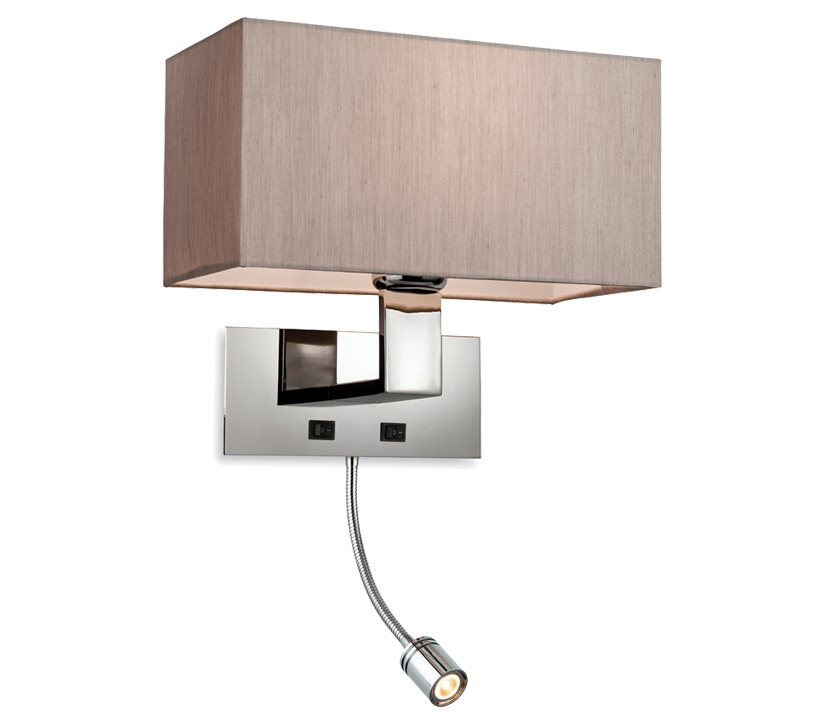 Firstlight prince 2 light switched wall light with led spot firstlight prince 2 light switched wall light with led spot polished stainless steel finish with oyster shade 8608oy aloadofball Gallery