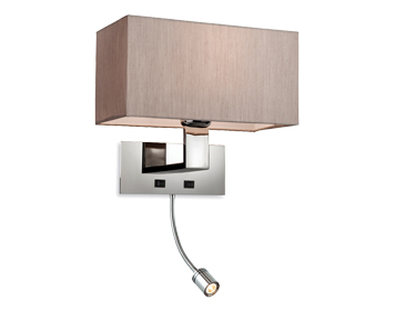 Firstlight Prince 2 Light Switched Wall Light With LED Spot, Polished Stainless Steel Finish With Oyster Shade - 8608OY
