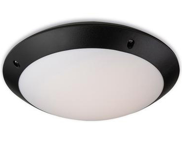 Firstlight Vista LED Flush Fitting Ceiling Light, Black Polycarbonate With White Diffuser - 8612BK