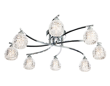 Firstlight Maple 8 Light Flush Ceiling Light, Chrome Finish With Moulded Clear Glass - 8616CH